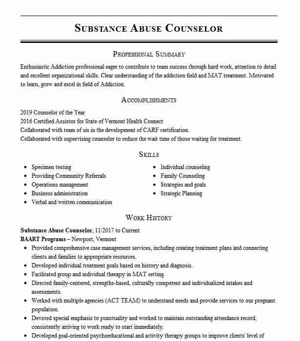 substance abuse counselor resume example livecareer templates medical billing and coding Resume Substance Abuse Counselor Resume Templates