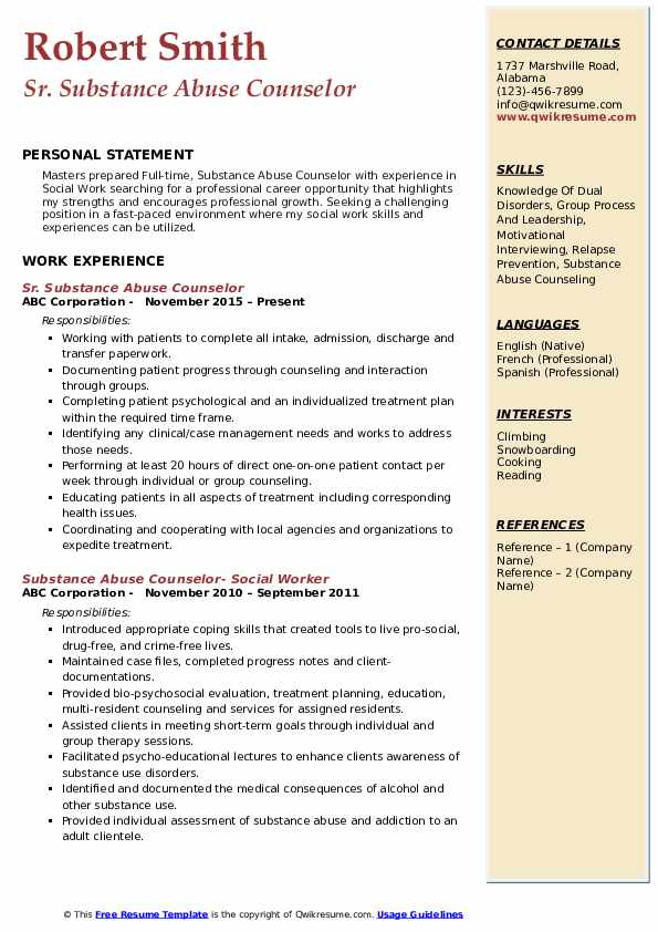 substance abuse counselor resume samples qwikresume templates pdf ats proof csx training Resume Substance Abuse Counselor Resume Templates