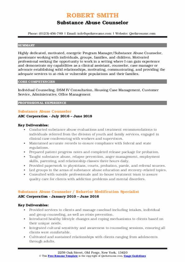 substance abuse counselor resume samples qwikresume templates pdf ats proof route excel Resume Substance Abuse Counselor Resume Templates