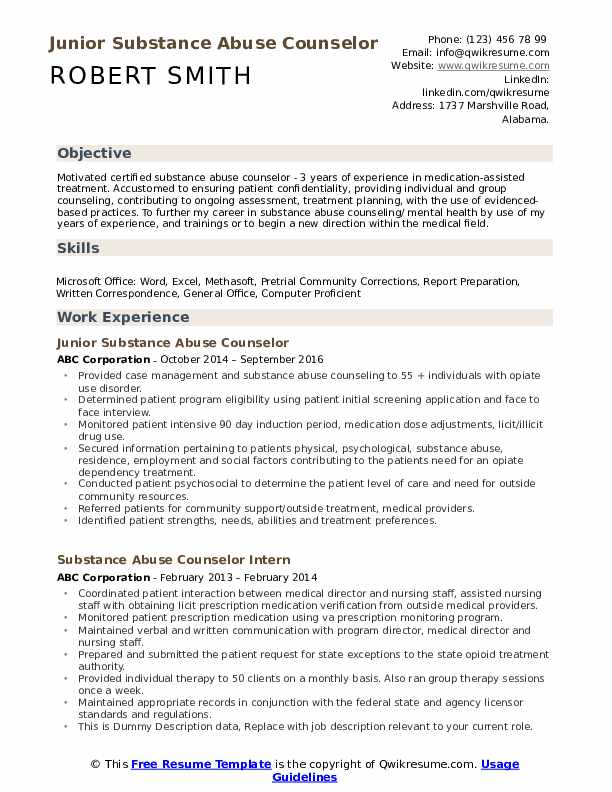 substance abuse counselor resume samples qwikresume templates pdf good computer science Resume Substance Abuse Counselor Resume Templates