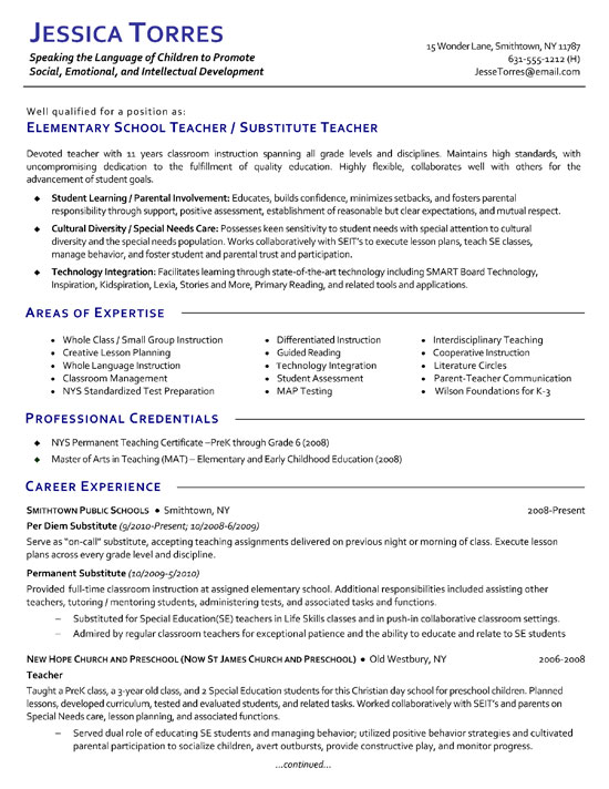 substitute teacher resume example examples for teaching jobs extea12a catchy summary Resume Resume Examples For Teaching Jobs