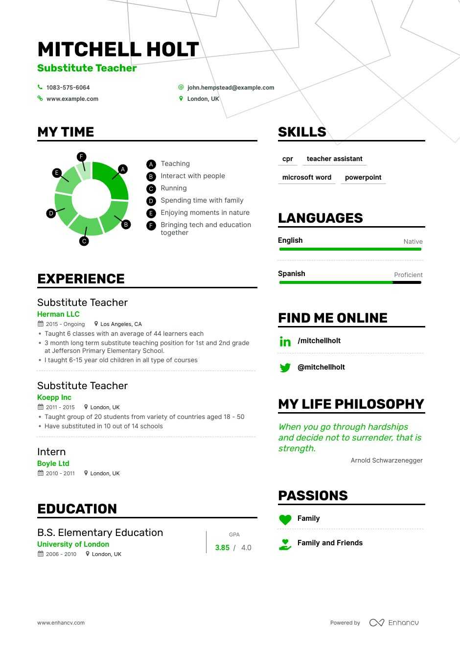 substitute teacher resume example for enhancv achievements of first examples objective Resume Achievements Of A Teacher Resume