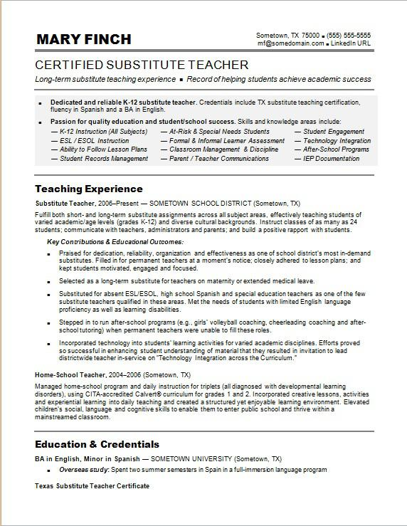 substitute teacher resume sample monster for education jobs professional summary Resume Resume For Education Jobs