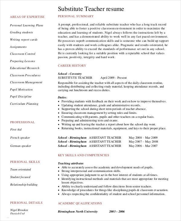 substitute teacher resume templates pdf free premium with no experience using powerpoint Resume Teacher Resume With No Experience
