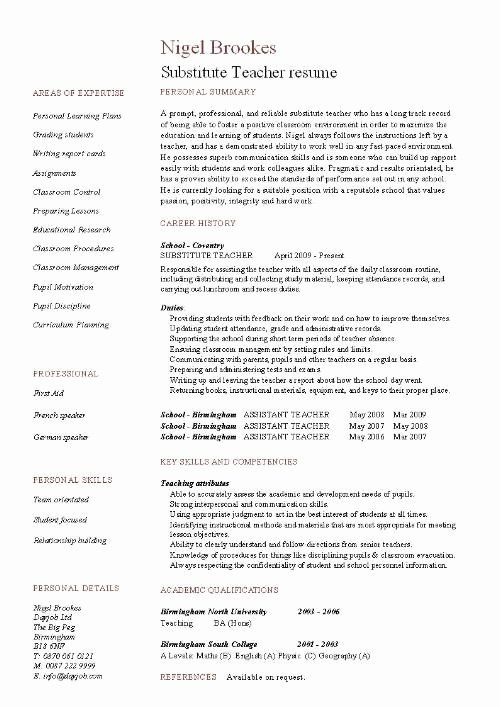 substitute teacher skills for resume best of example template sample teaching education Resume Resume For Education Jobs