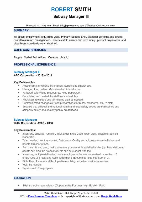 subway manager resume samples qwikresume assistant job description pdf best examples for Resume Subway Assistant Manager Job Description Resume