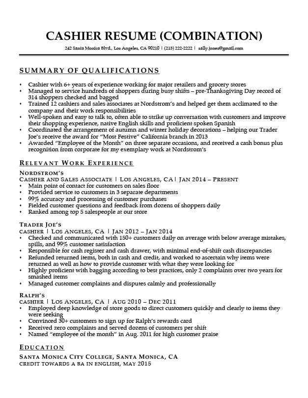 summary of qualifications resume companion great for cashier with serif font common Resume Great Summary For Resume