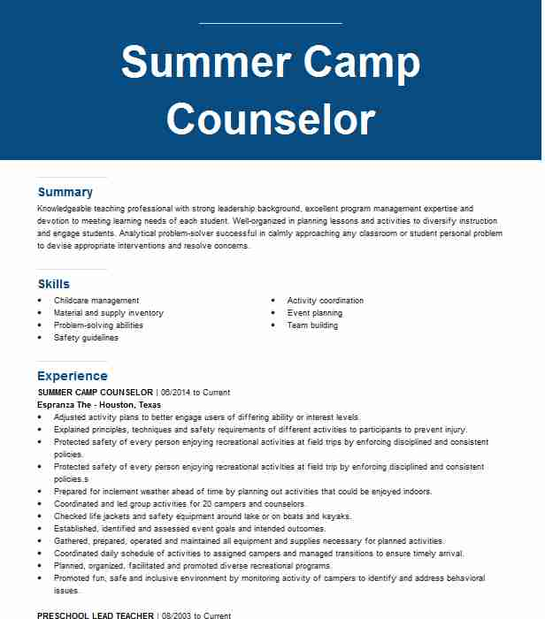 summer counselor resume example resumes livecareer junior job description for best and Resume Junior Counselor Summer Camp Job Description For Resume