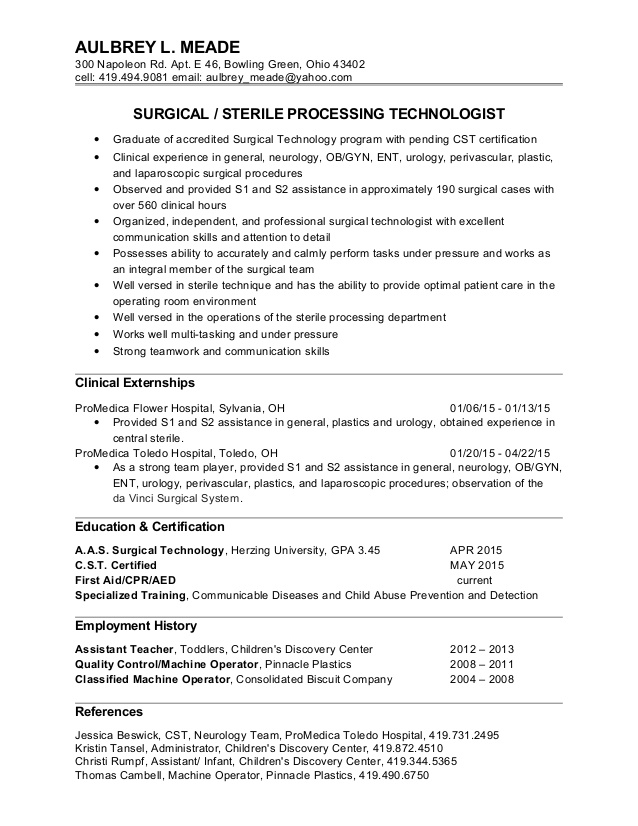 surgical tech resume louiesportsmouth student aulbrey summary for data analyst music Resume Surgical Tech Student Resume