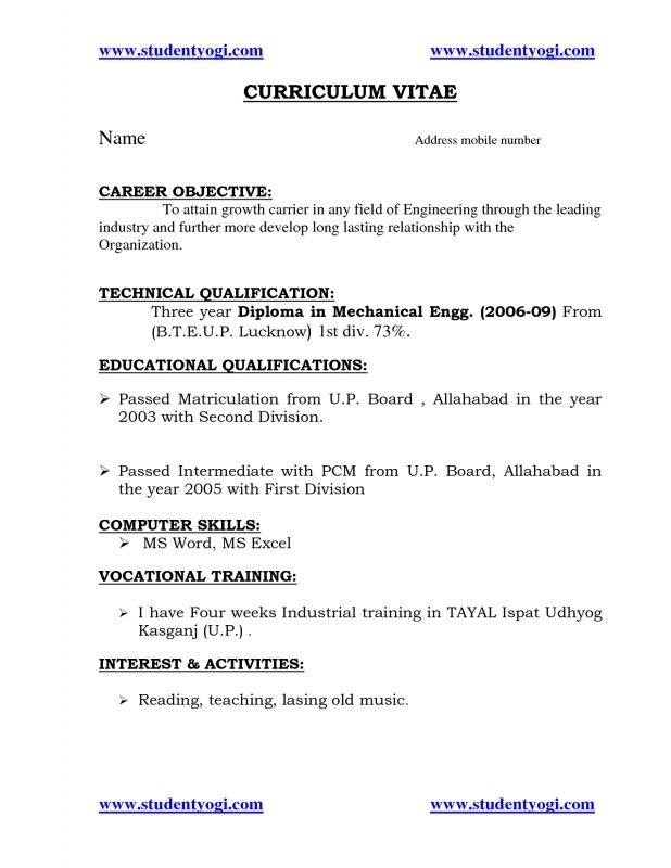 tags resume for fresher mechanical engineering student objective career objectives Resume Mechanical Engineering Resume Objective