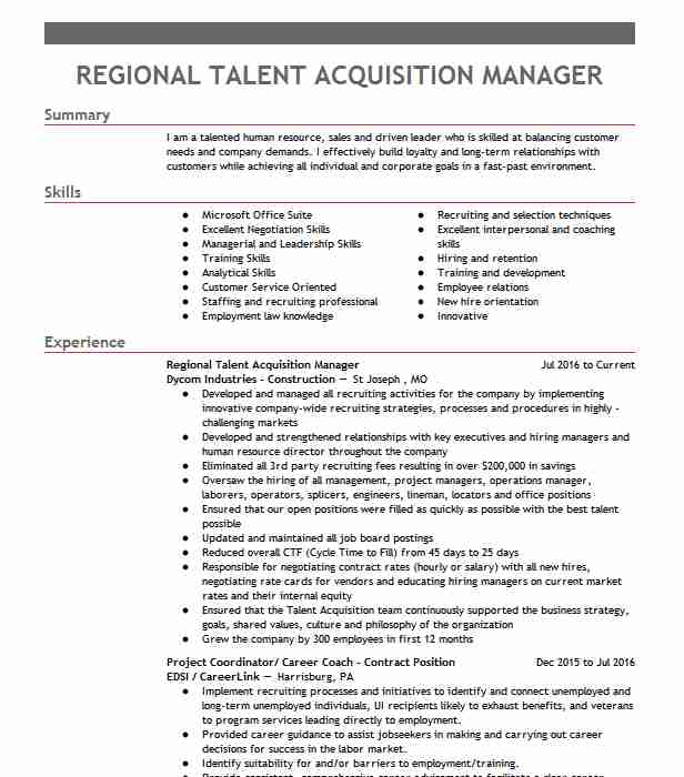 talent acquisition manager resume example rei systems inc ashburn airport customer Resume Talent Acquisition Manager Resume