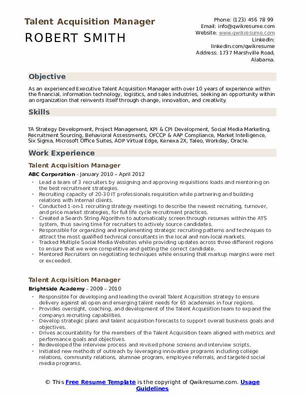 talent acquisition manager resume samples qwikresume pdf airport customer service Resume Talent Acquisition Manager Resume
