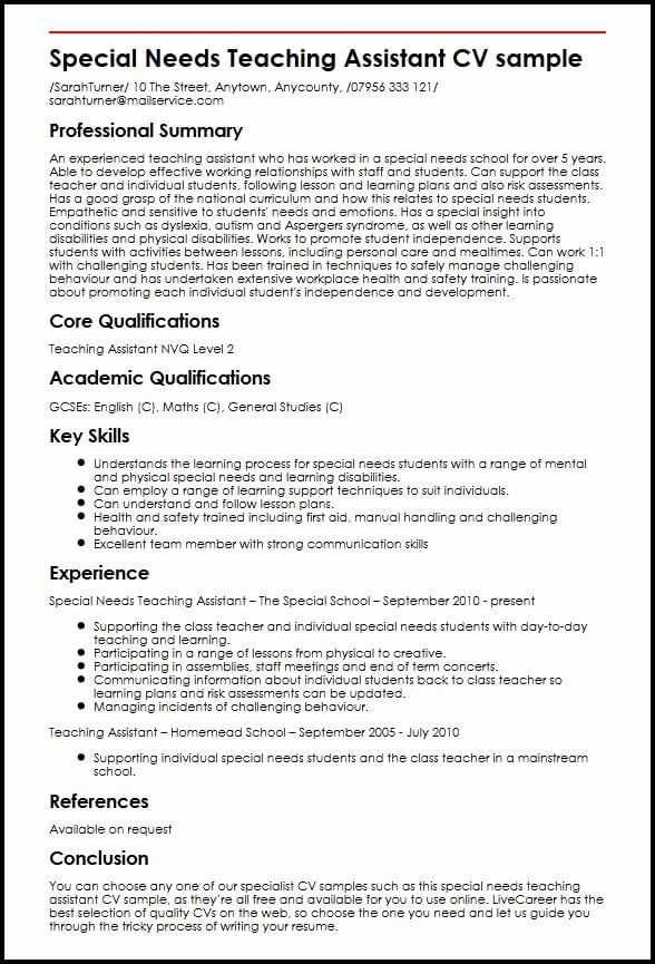 teacher aide resume objective unique special needs teaching assistant cv example cover Resume Teacher Assistant Resume Examples