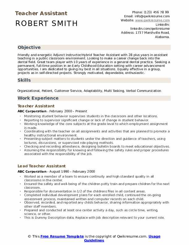 teacher assistant resume samples qwikresume elementary pdf lateral police officer writing Resume Elementary Teacher Assistant Resume