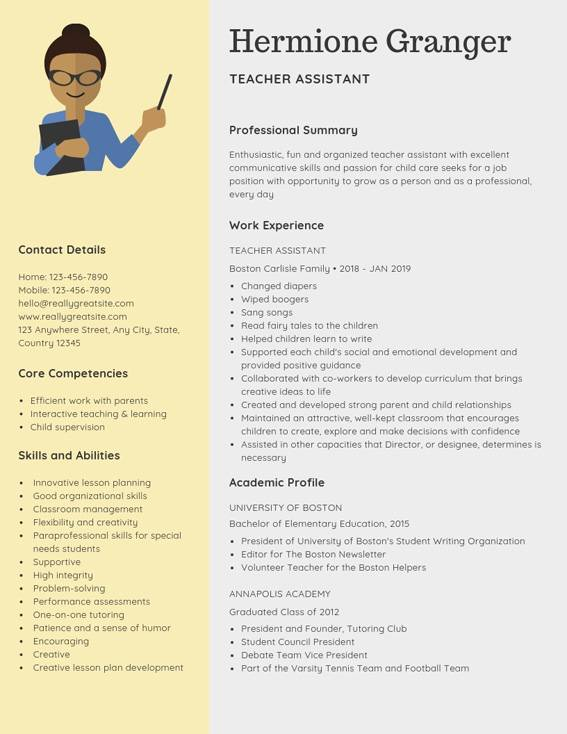 teacher assistant resume samples templates pdf word resumes bot examples for teaching Resume Resume Examples For Teaching Jobs
