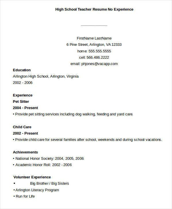 teacher resume sample free word pdf documents premium templates with no experience high Resume Teacher Resume With No Experience