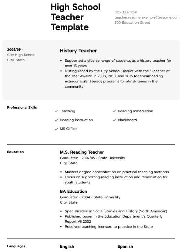 teacher resume samples all experience levels sample of english for high school order Resume Sample Resume Of English Teacher For High School