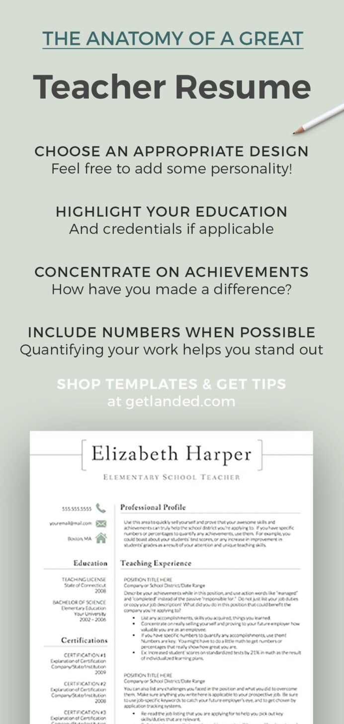 teacher resume template for word cv etsy teaching achievements of show promotion on Resume Achievements Of A Teacher Resume