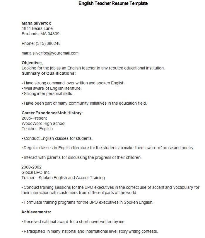 teacher resume templates pdf publisher free premium template for one job history english Resume Resume Template For One Job History