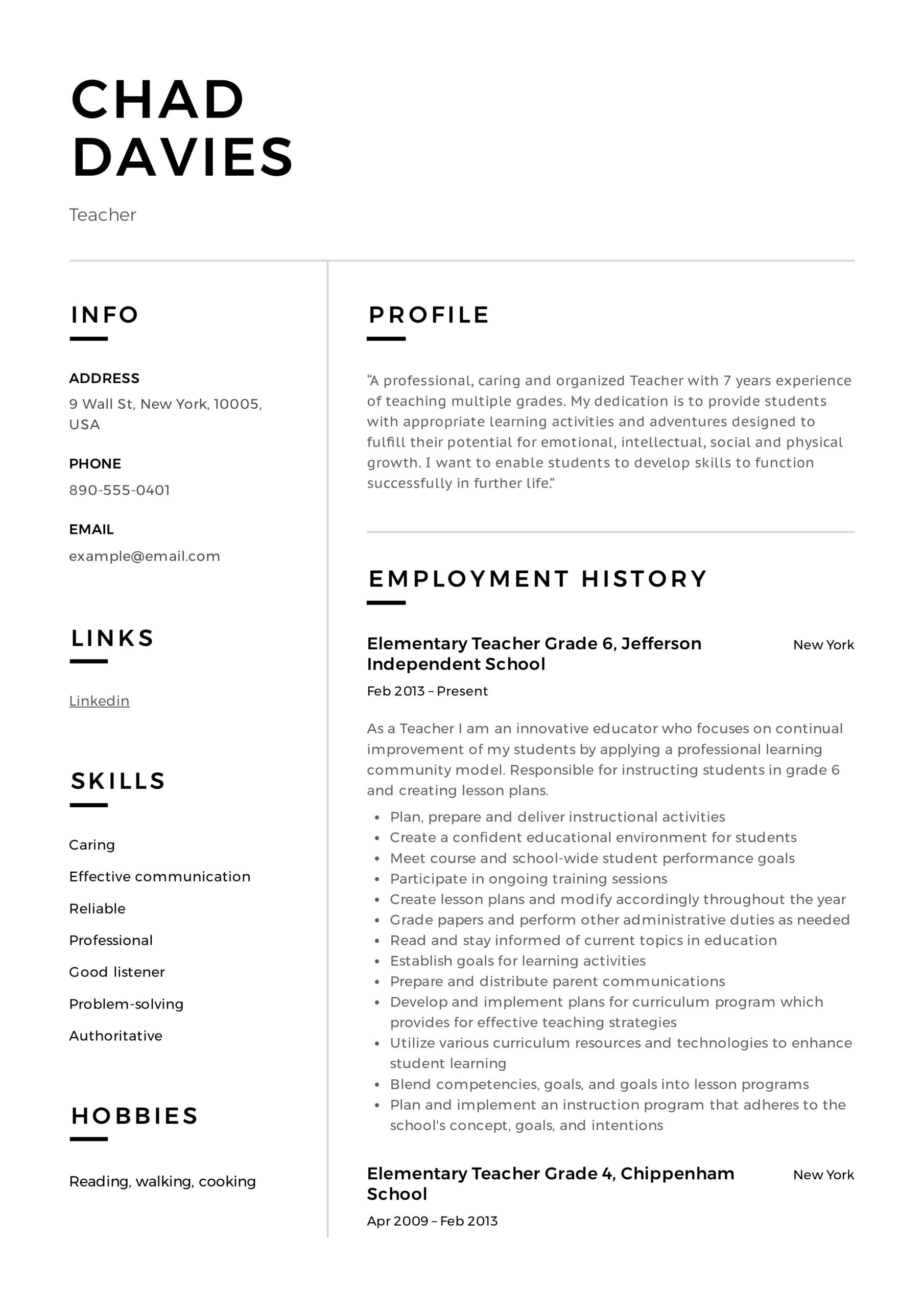 teacher resume writing guide examples pdf elementary sample place services san diego Resume Teacher Resume Examples 2020