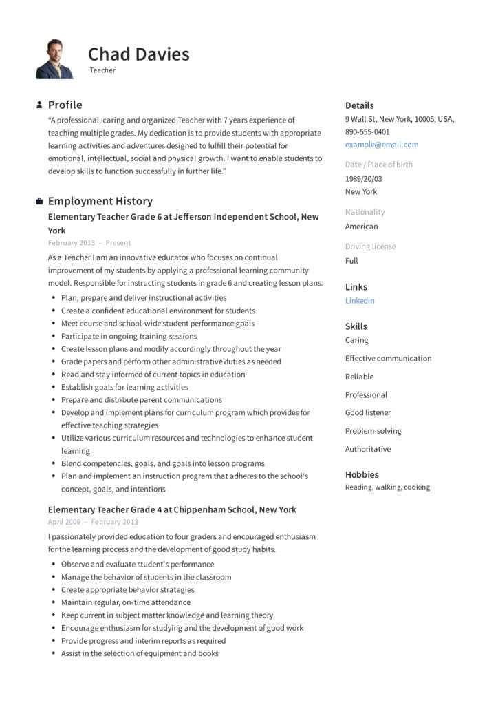 teacher resume writing guide examples pdf professional elementary sample 724x1024 for Resume Professional Resume Examples Pdf