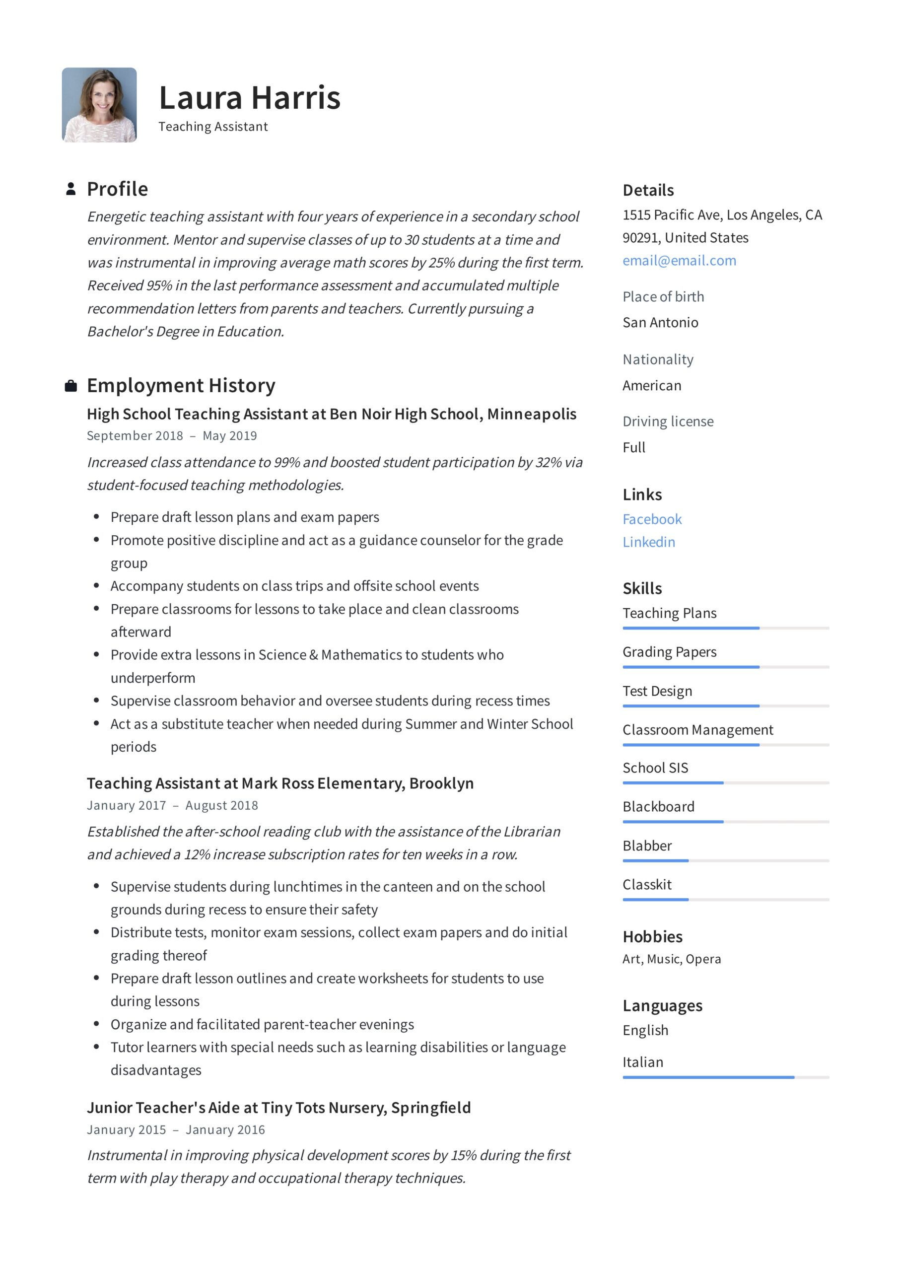 teaching assistant resume writing guide templates pdf elementary teacher template scanner Resume Elementary Teacher Assistant Resume