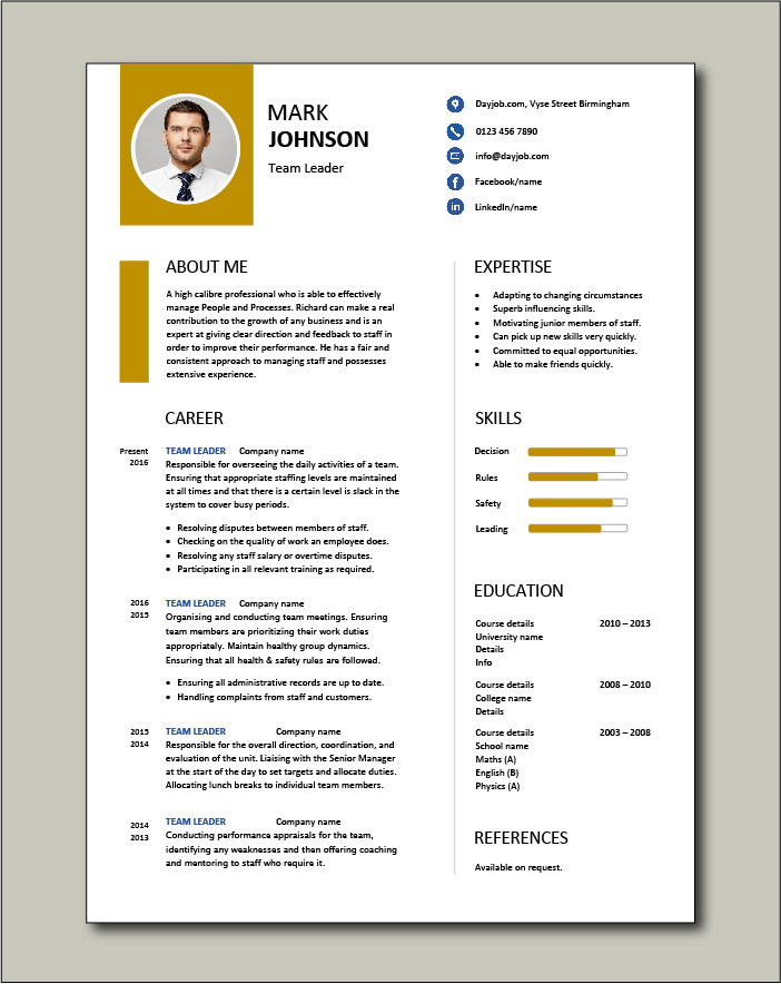 team leader resume supervisor cv example template sample jobs work examples for free cnc Resume Resume Examples For Team Leader