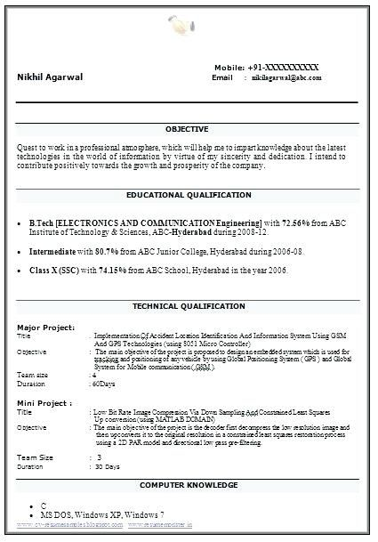 tech resume format for fresher best title examples freshers grade electrical automation Resume Best Resume Title Examples For Freshers