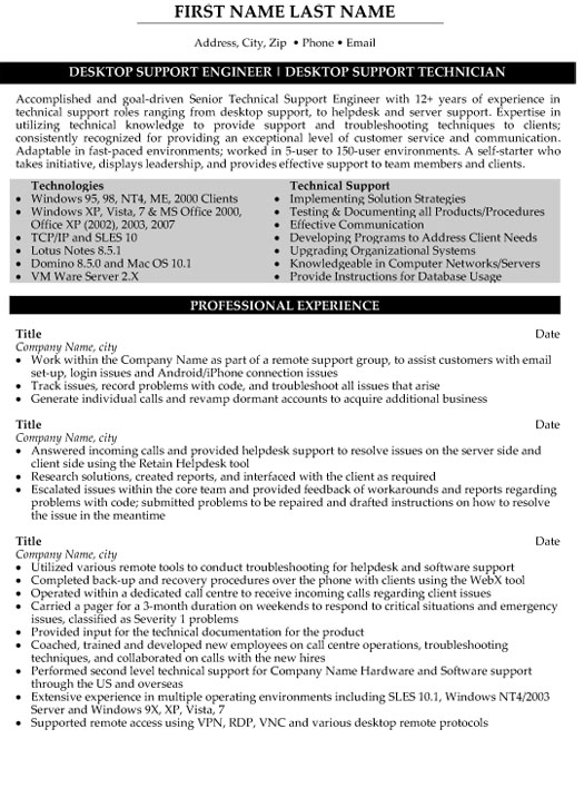 technical support engineer resume sample template desktop technician ccar format outline Resume Desktop Support Engineer Resume