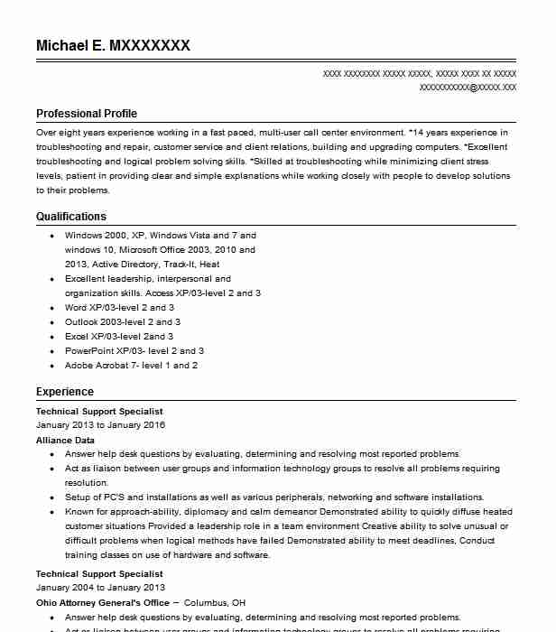 technical support specialist resume example livecareer computer sample internet attendant Resume Computer Support Specialist Resume Sample