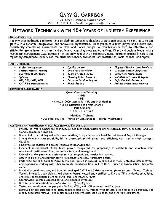 telecom technician resume example fiber maintenance engineer sample extec19a same job Resume Fiber Maintenance Engineer Resume
