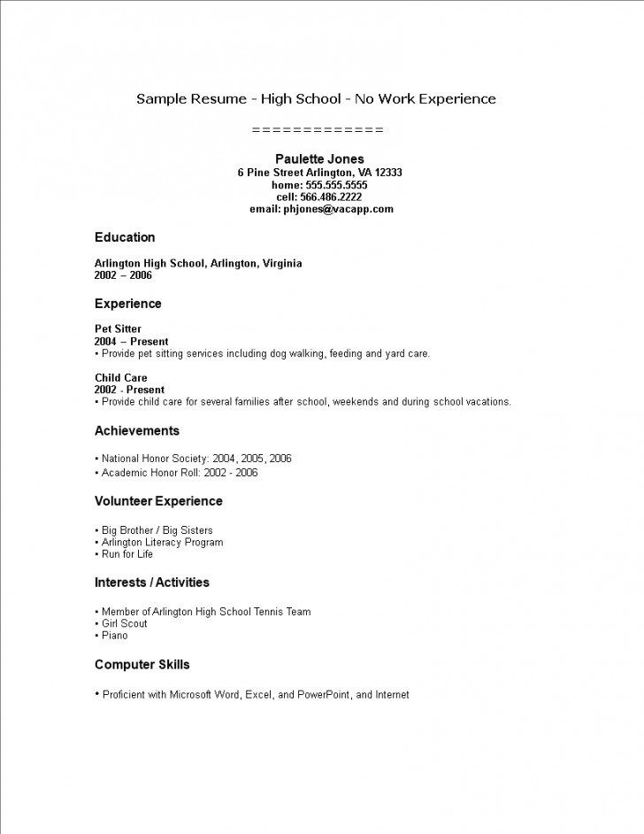 template ideas high school student resume with no work experience for teenager little Resume Resume For Teenager With Little Work Experience
