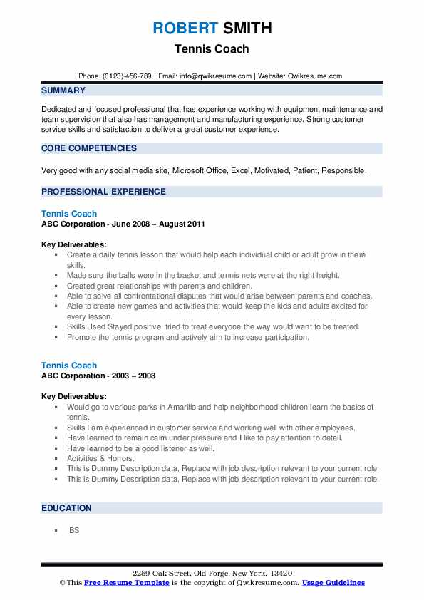 tennis coach resume samples qwikresume for college pdf casual work athlete best style Resume Tennis Resume For College