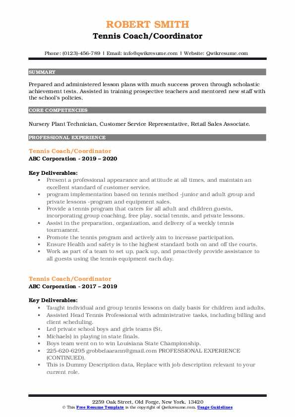 tennis coach resume samples qwikresume for college pdf machine learning screening Resume Tennis Resume For College