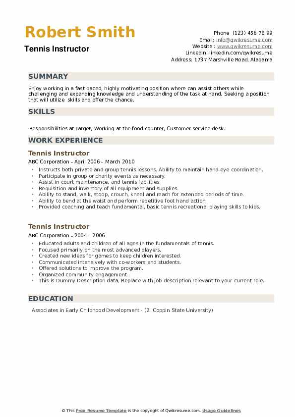 tennis instructor resume samples qwikresume for college pdf athlete activites car Resume Tennis Resume For College