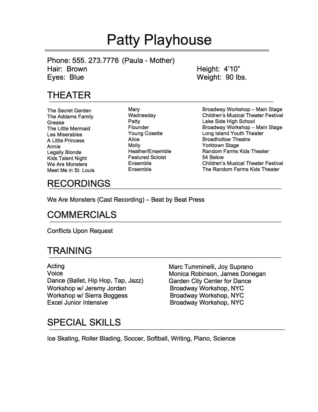 the art of perfect theatrical resume broadway workshop theatre performance template with Resume Theatre Performance Resume Template