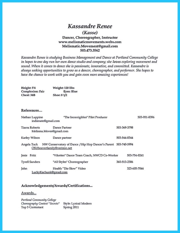 the best and impressive dance resume examples collections for college headshot writer Resume College Dance Resume Template