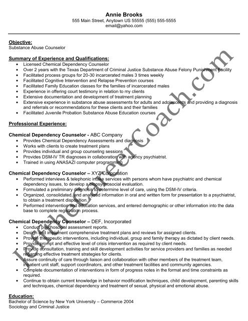 the chemical dependency counselor resume sample substance abuse templates ats proof Resume Substance Abuse Counselor Resume Templates