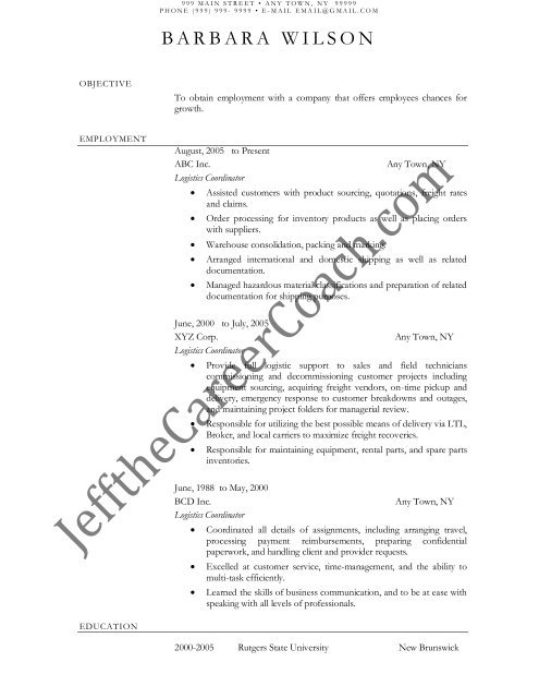 the logistics coordinator resume sample one in pdf objective office assistant on Resume Logistics Coordinator Resume Objective