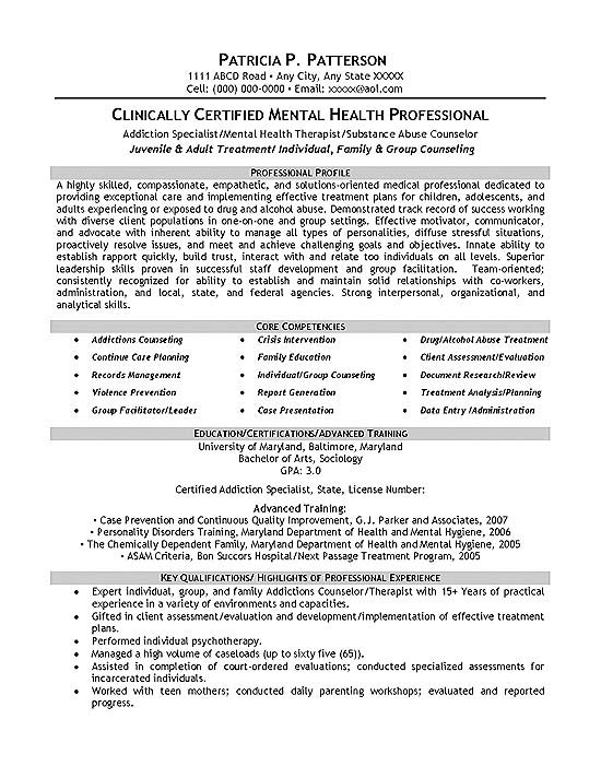 therapist counselor resume example objective for mental health sample exmed12a file clerk Resume Objective For Mental Health Resume
