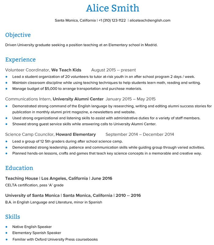 to create an esl teacher resume that get you the job go overseas examples for teaching Resume Resume Examples For Teaching Jobs