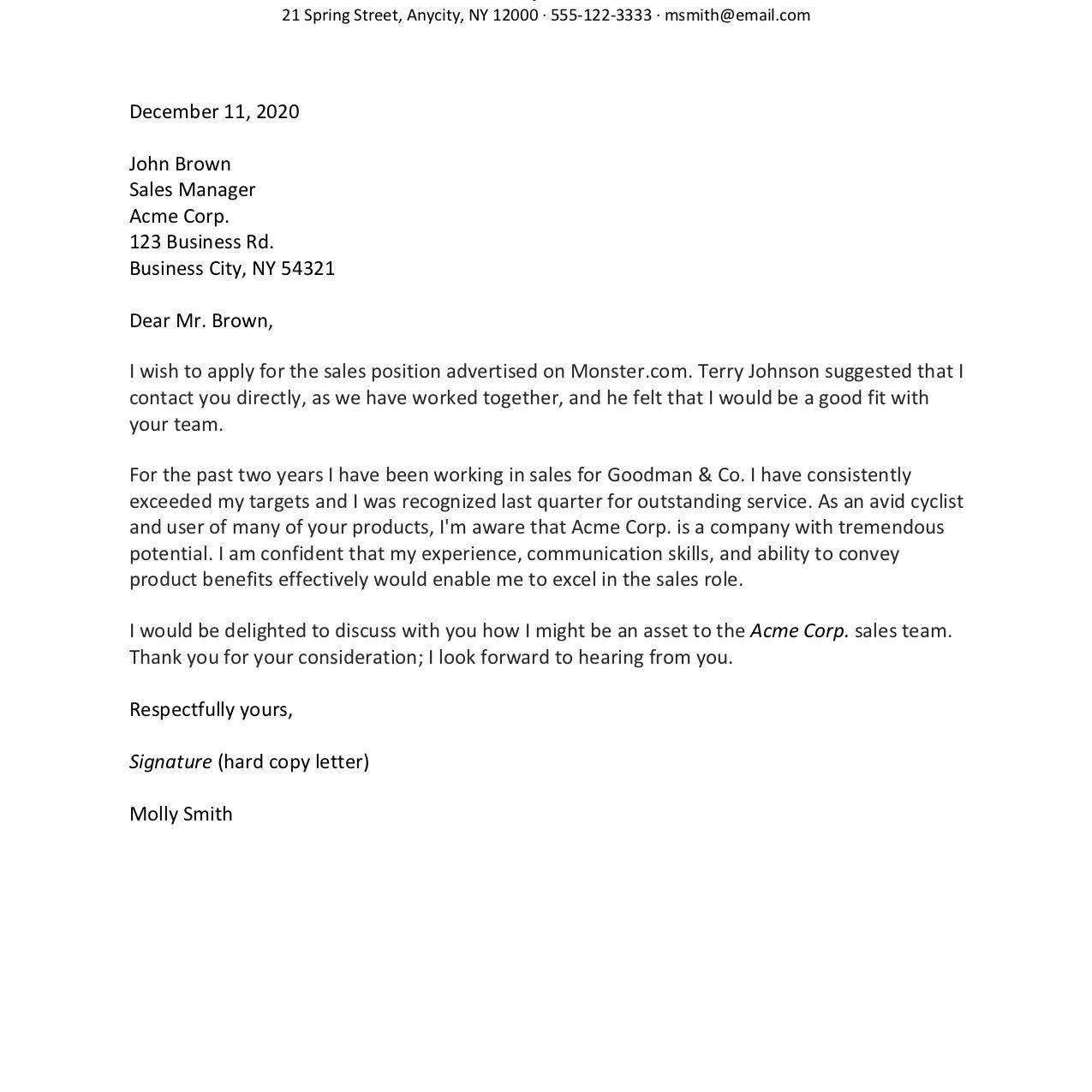 to format cover letter with examples proper resume mollysmith creative writers new model Resume Proper Resume Cover Letter Format