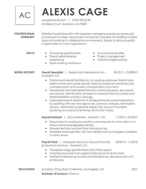 to include resume education examples tips section accounting payroll specialist sample Resume Resume Education Section Examples