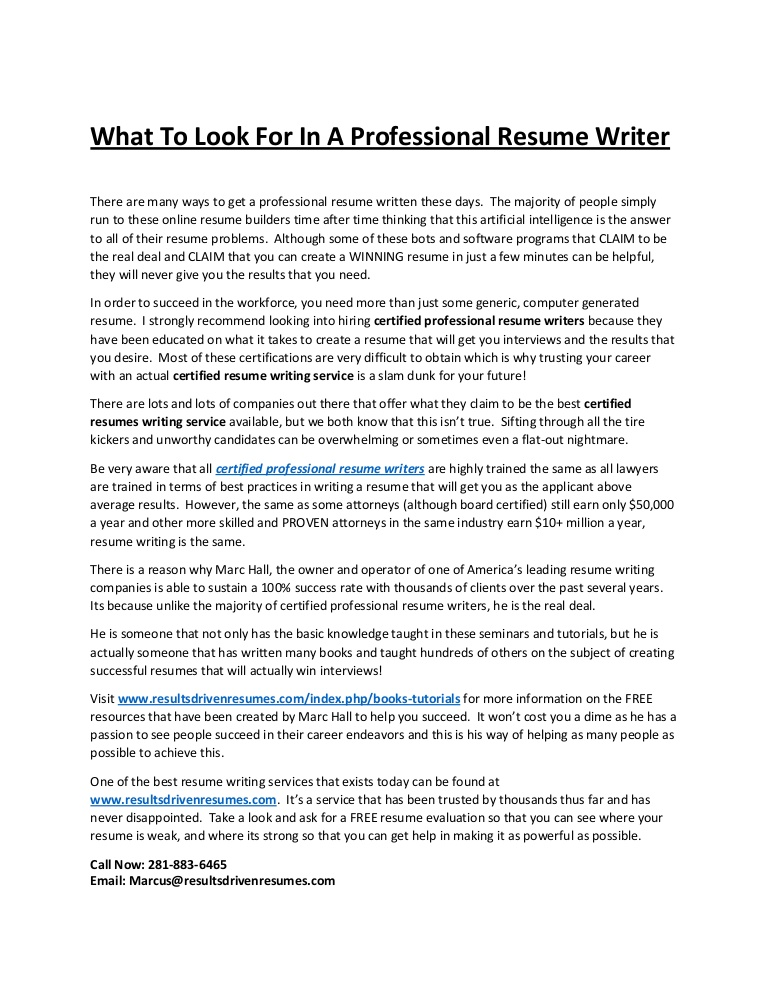 to look for in professional resume writer best certified writers Resume Best Certified Resume Writers