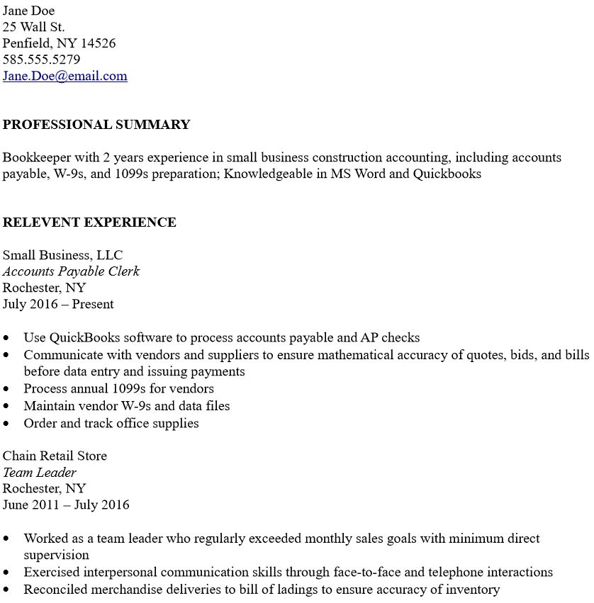to write bookkeeper resume with little experience the korean accountant summary for no Resume Summary For Resume With No Experience