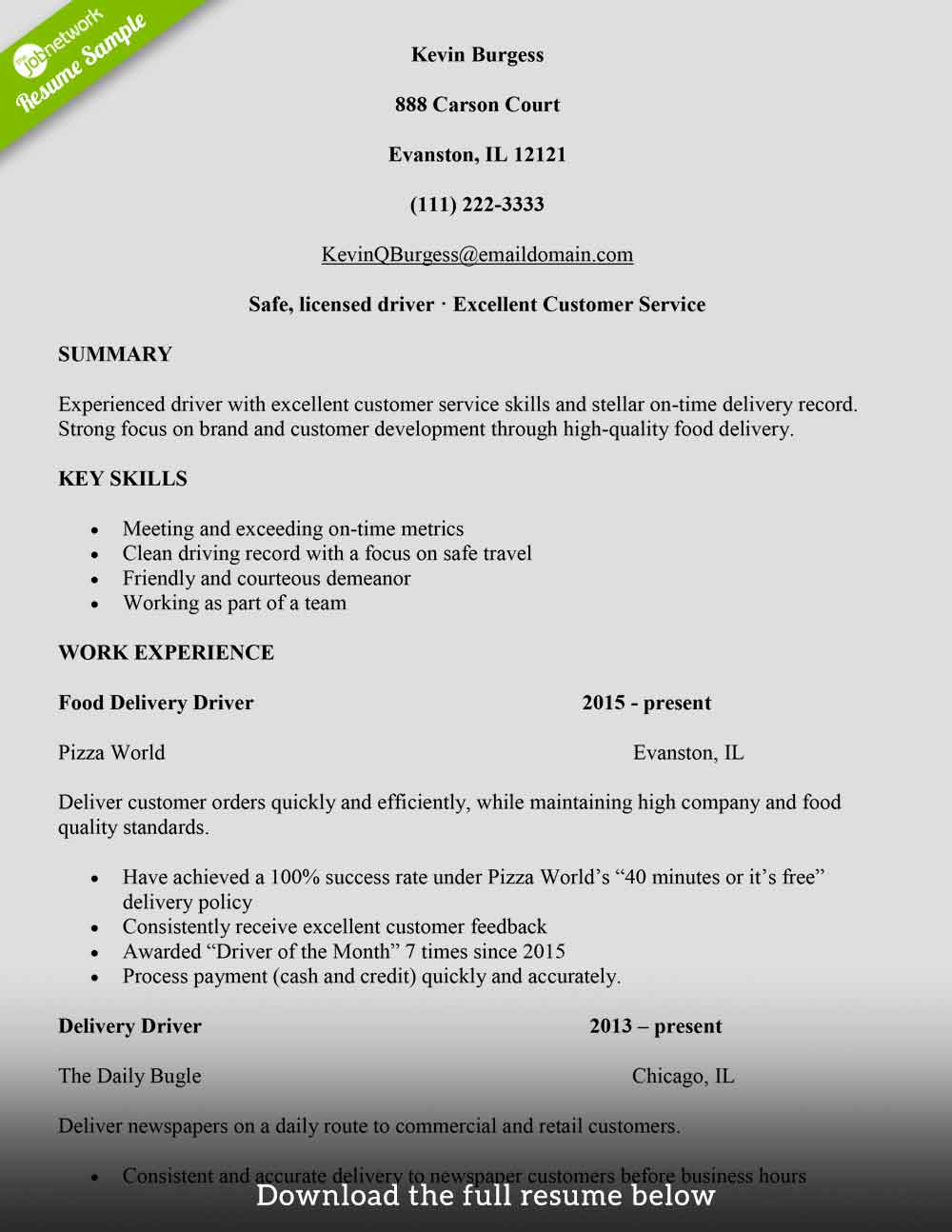 to write delivery driver resume with examples the jobnetwork another word for food Resume Another Word For Delivery Driver For Resume