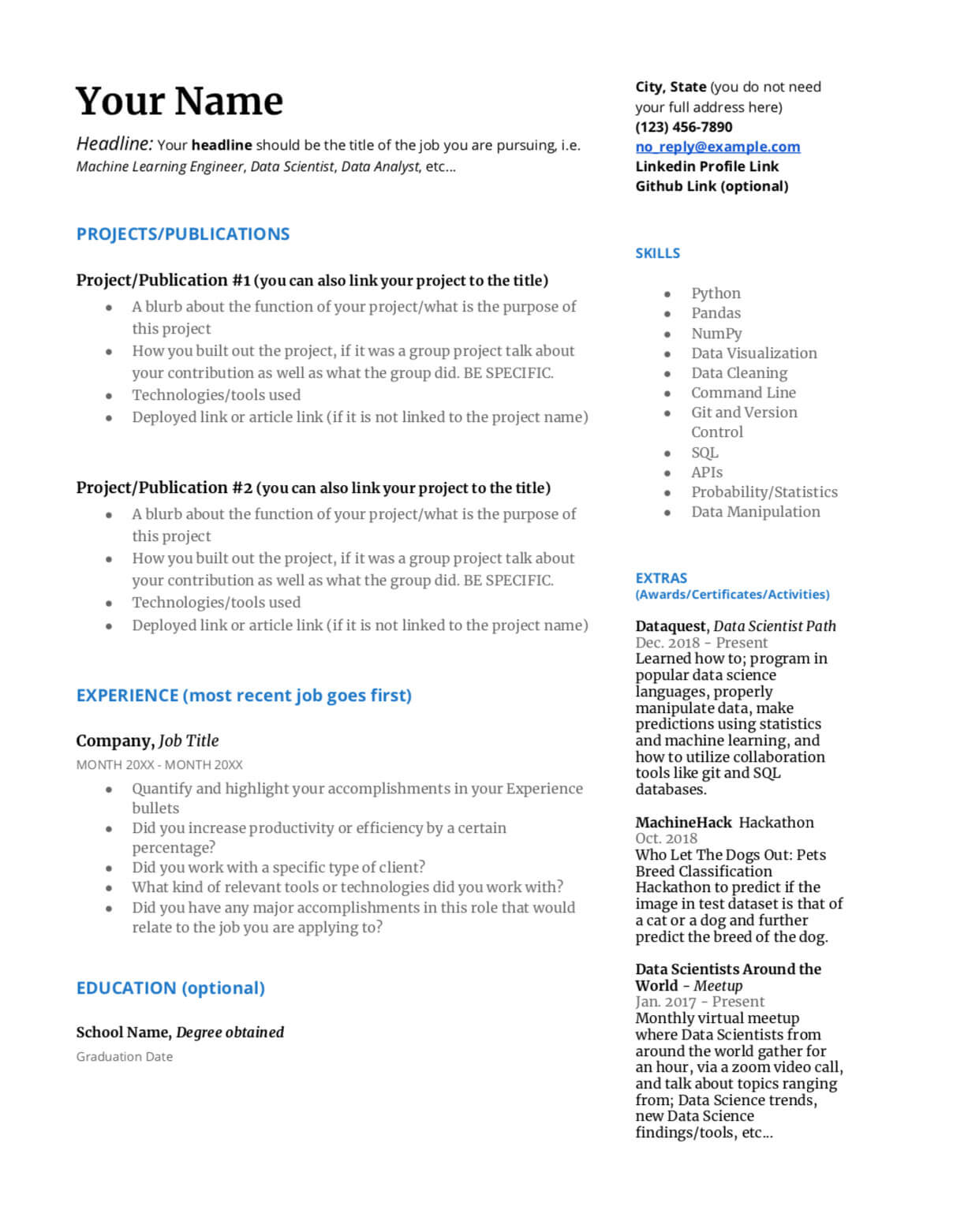 to write great data science resume dataquest sample template advice with writing should Resume Data Science Resume Sample