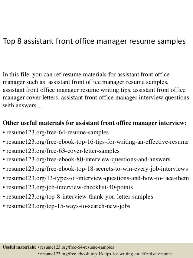 top assistant front office manager resume samples example email address for civil Resume Office Manager Resume Example