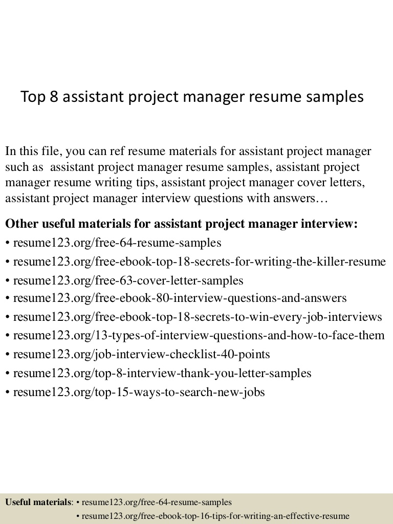 top assistant project manager resume samples top8assistantprojectmanagerresumesamples Resume Assistant Project Manager Resume