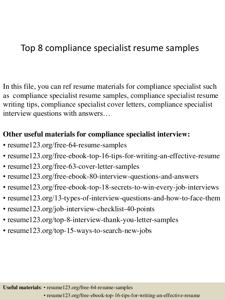top compliance specialist resume samples top8compliancespecialistresumesamples conversion Resume Compliance Specialist Resume